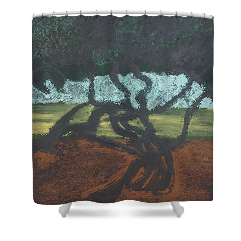 Contemporary Tree Landscape Shower Curtain featuring the mixed media La Jolla II by Leah Tomaino