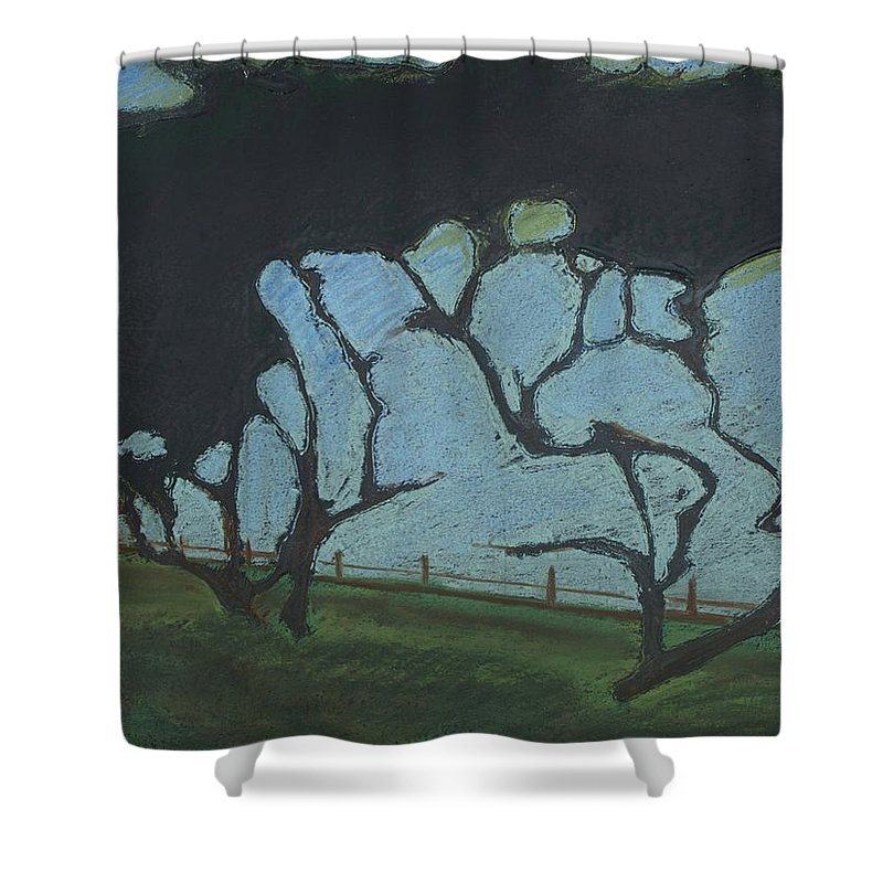 Contemporary Tree Landscape Shower Curtain featuring the mixed media La Jolla IIi by Leah Tomaino