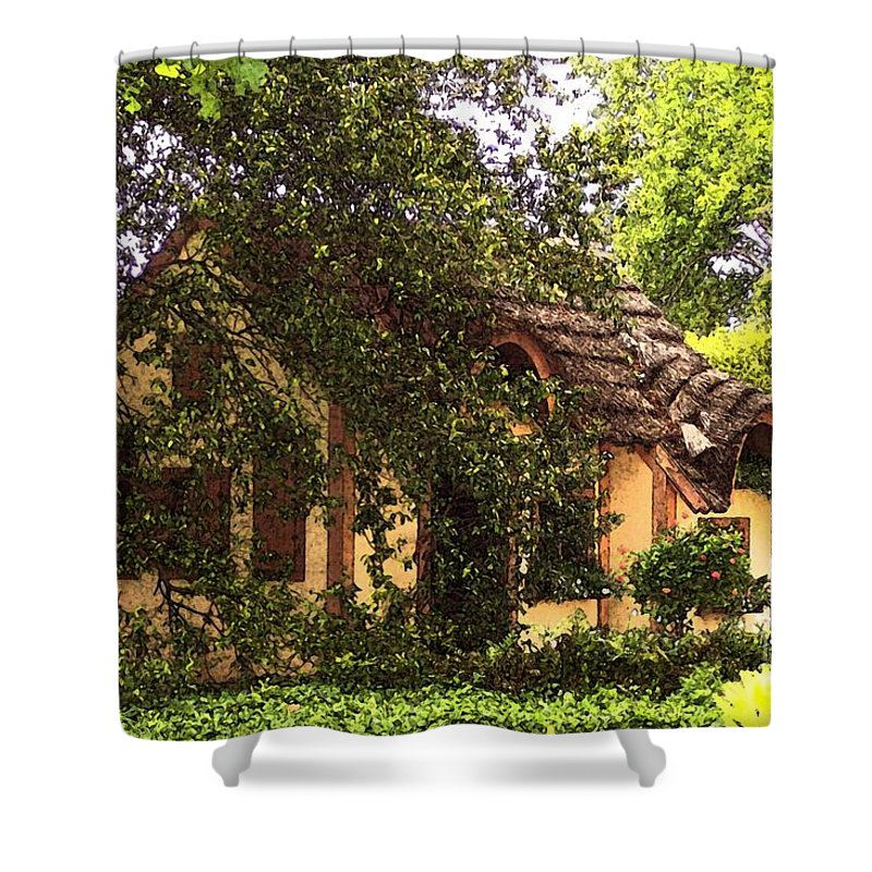 Cottage Shower Curtain featuring the photograph La Maison by Debbi Granruth