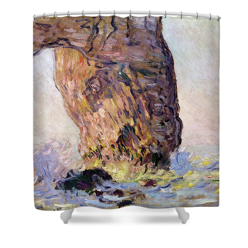 Impressionist; Normandy Coast; Coastal; Arch; Waves; Breakers; Falaise Shower Curtain featuring the painting La Manneporte by Claude Monet