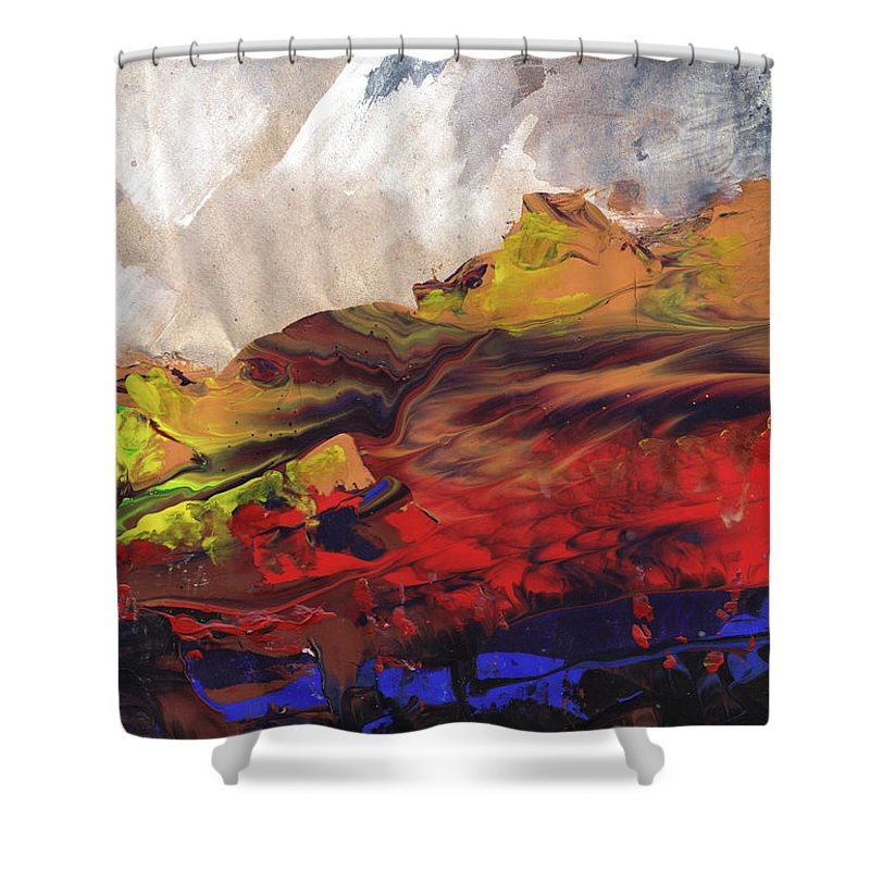 Landscapes Shower Curtain featuring the painting La Mer Rouge by Miki De Goodaboom