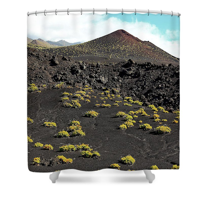 Palma Shower Curtain featuring the photograph La Palma, Canary Island, Blooming Volcanic Landscape At Cap De Fuencaliente by Heinz Tschanz-Hofmann