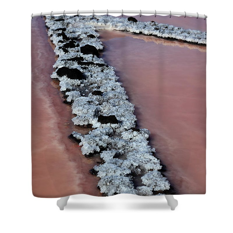 Palma Shower Curtain featuring the photograph La Palma, Canary Island, Red Algae, Dunaliella Salina In The Crystallization Basin by Heinz Tschanz-Hofmann