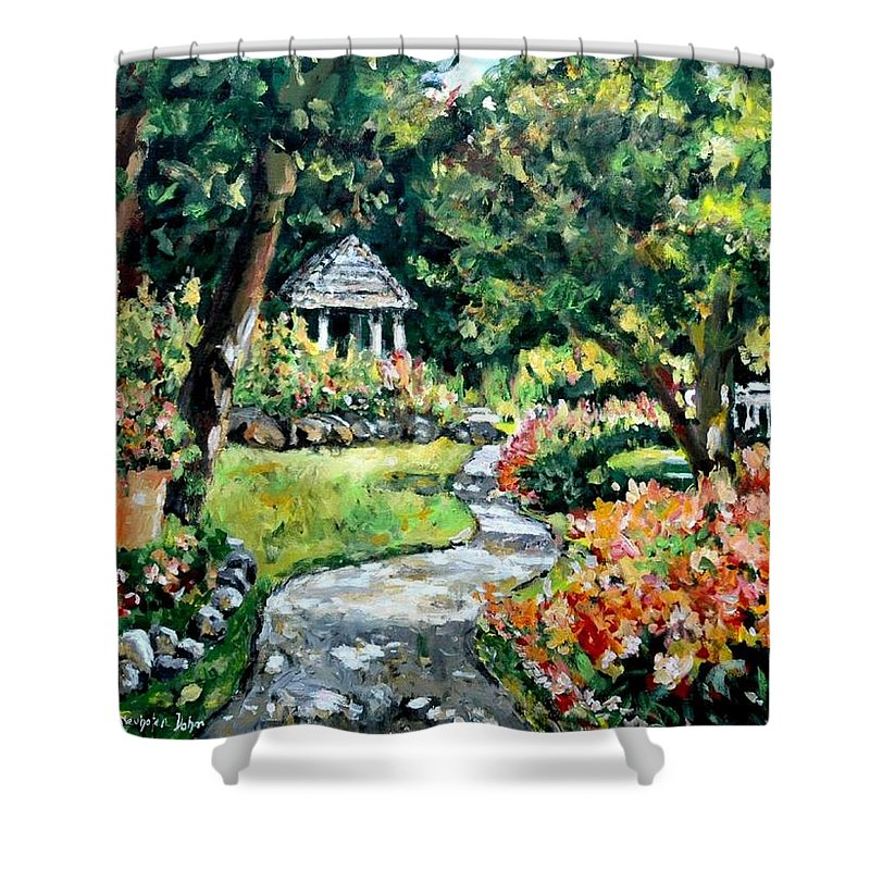Landscape Shower Curtain featuring the painting La Paloma Gardens by Alexandra Maria Ethlyn Cheshire