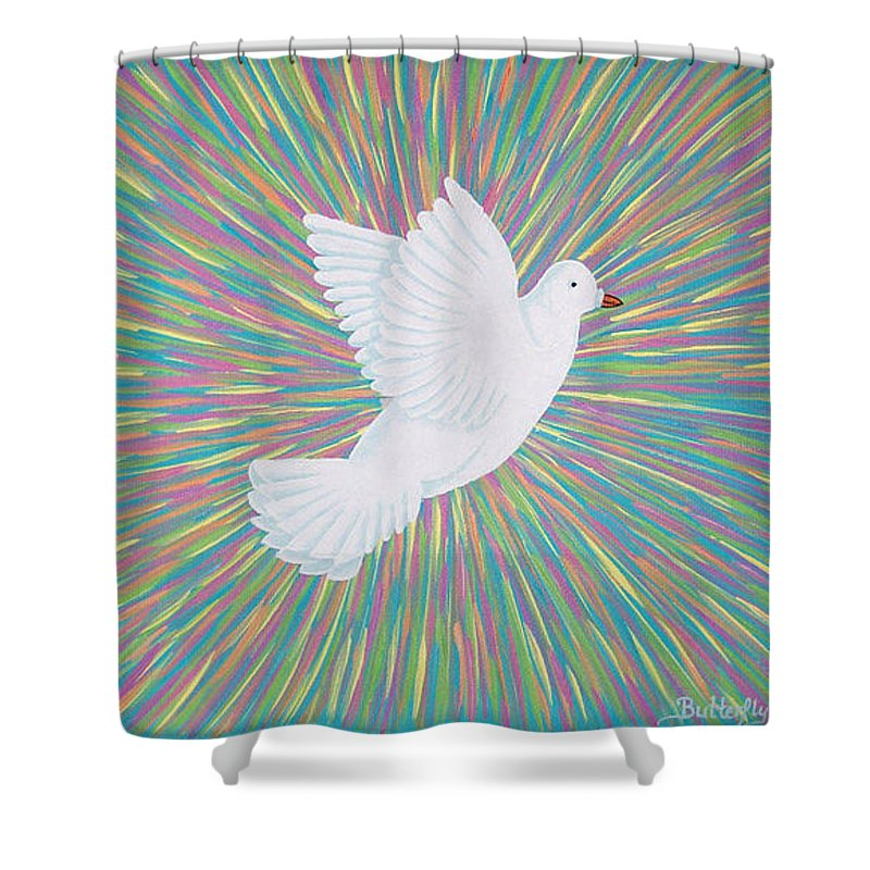 Dove Shower Curtain featuring the painting La Palomita by Emmely Hillewaert