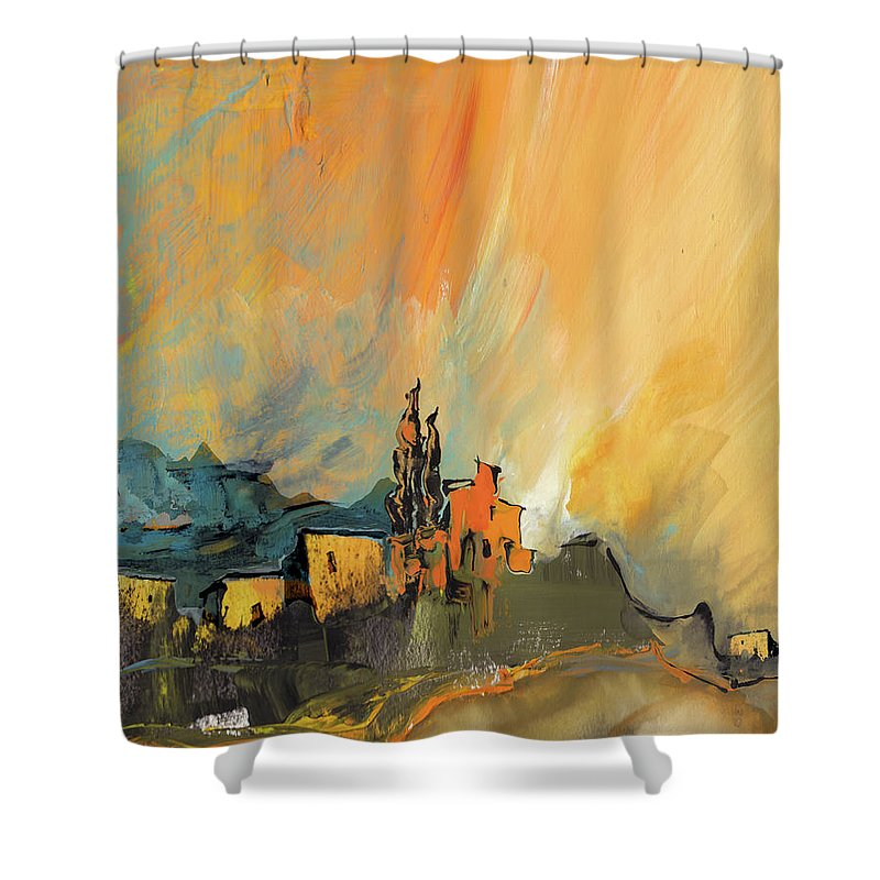 Landscapes Shower Curtain featuring the painting La Provence 25 by Miki De Goodaboom