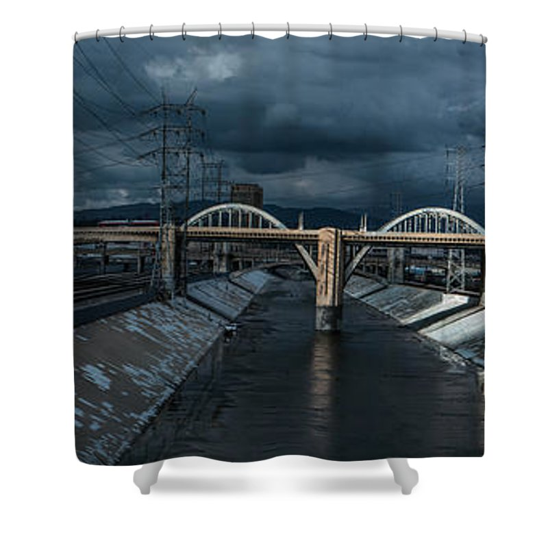 Iphone Cover Shower Curtain featuring the photograph Los Angeles River Autumn 2015 by Ralph King