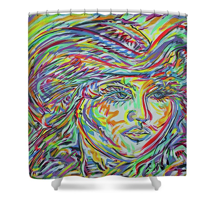 Adelita Shower Curtain featuring the painting La Rosita by Jimmy Longoria