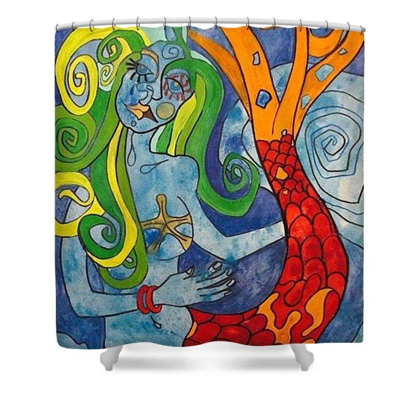 Acrylic Shower Curtain featuring the painting La Sirenita by Daniel Quinonez