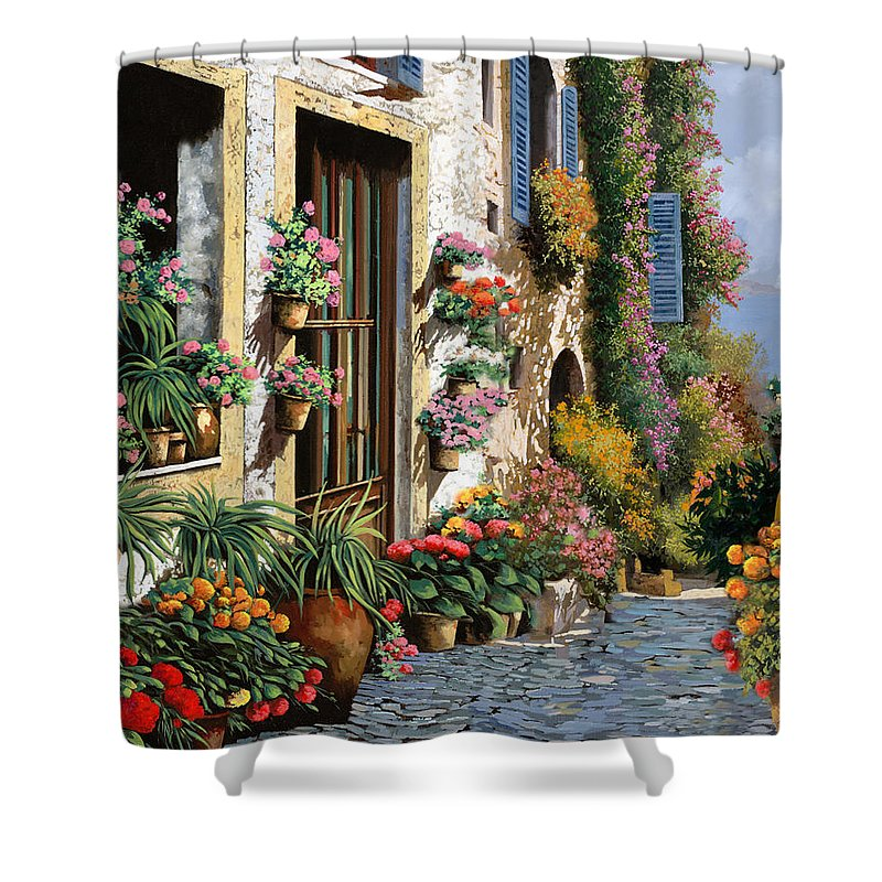 Seascape Shower Curtain featuring the painting La Strada Del Lago by Guido Borelli