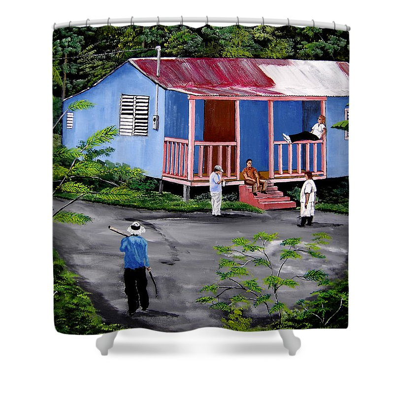 Campo Shower Curtain featuring the painting La Vida En Las Montanas De Moca by Luis F Rodriguez