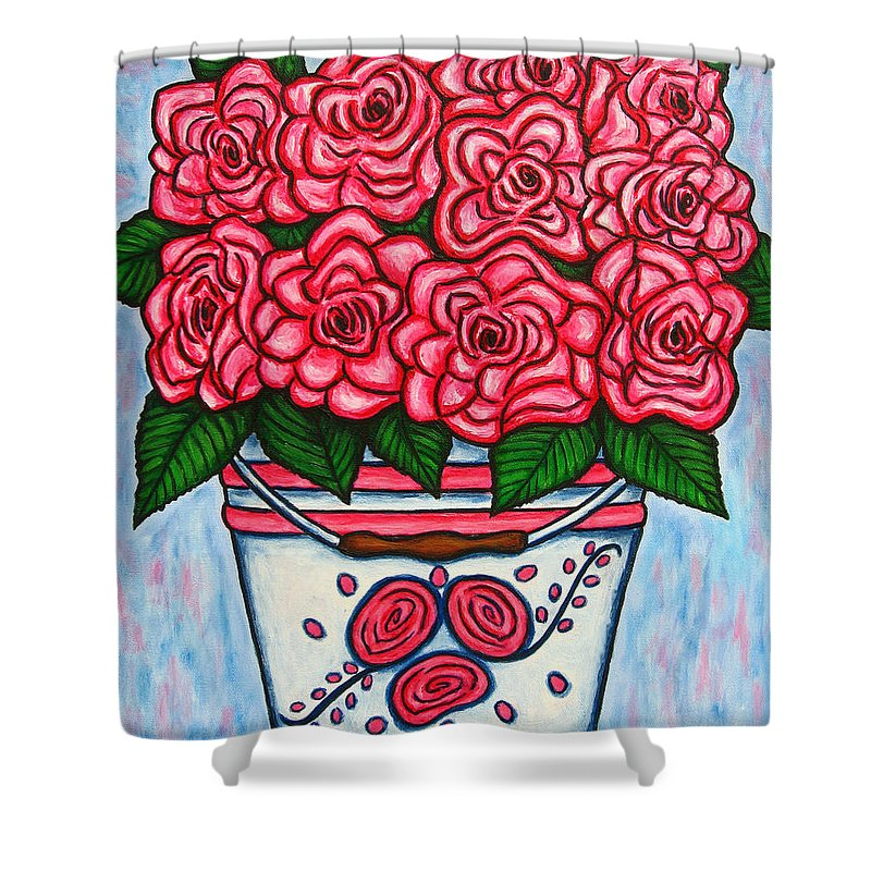 Rose Shower Curtain featuring the painting La Vie En Rose by Lisa Lorenz