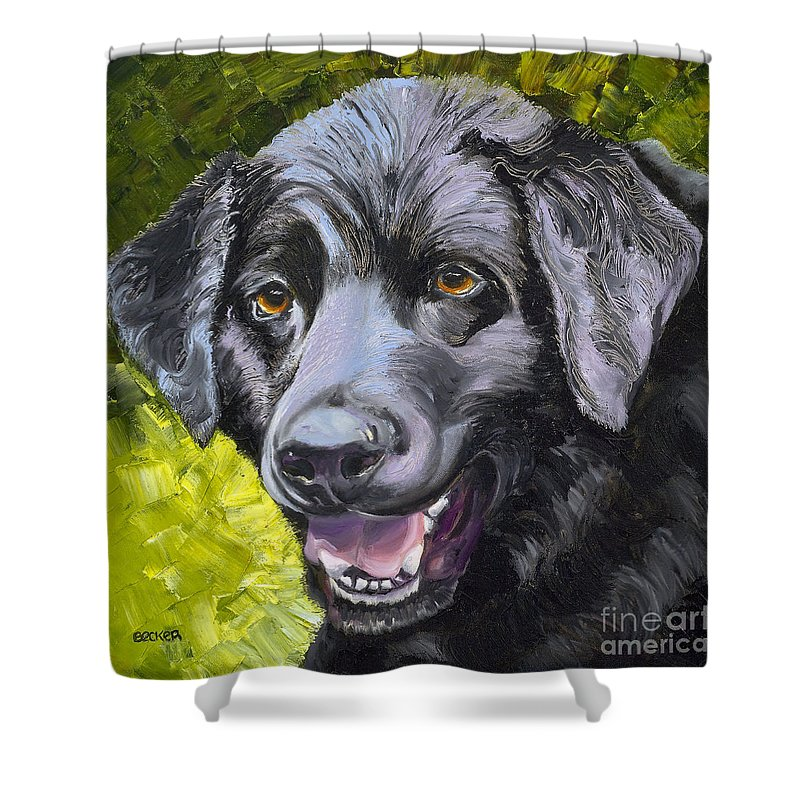 Labrador Retriever Shower Curtain featuring the painting Lab Out Of The Pond by Susan A Becker