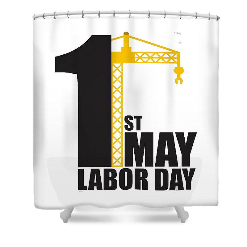 May Shower Curtain featuring the digital art Labor Day May 1st by Bunny Boujee