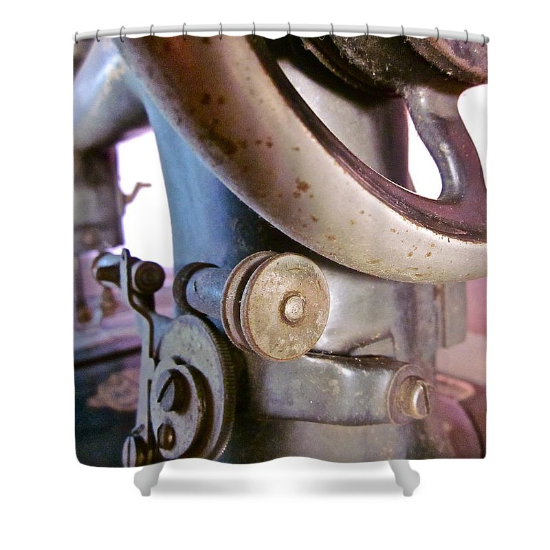 Photograph Of Sewing Machine Shower Curtain featuring the photograph Labor Of Love by Gwyn Newcombe