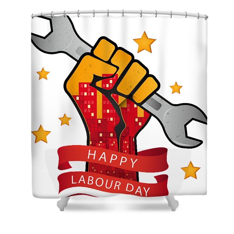 Work Shower Curtain featuring the digital art Labour Day by Bunny Boujee