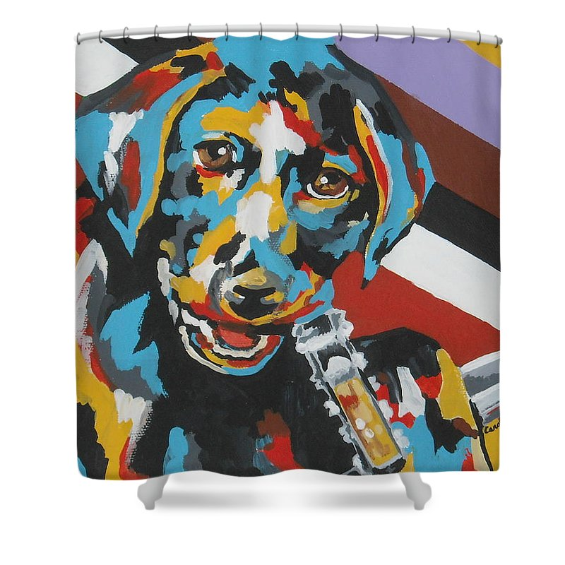 Puppy Shower Curtain featuring the painting Labrador Puppy by Caroline Davis