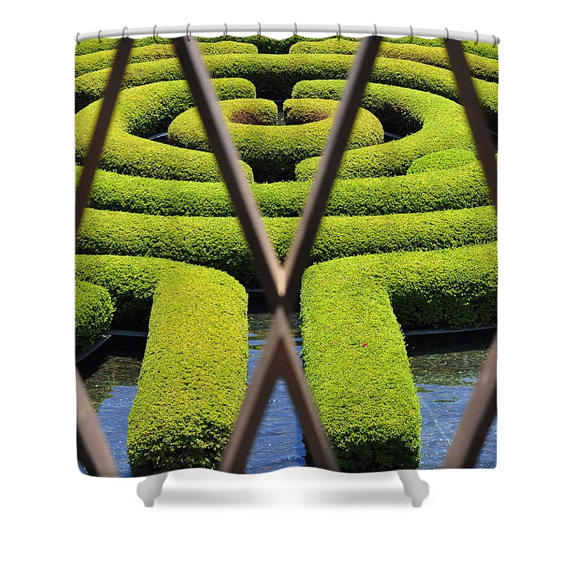 Clay Shower Curtain featuring the photograph Labyrinth At The Getty by Clayton Bruster