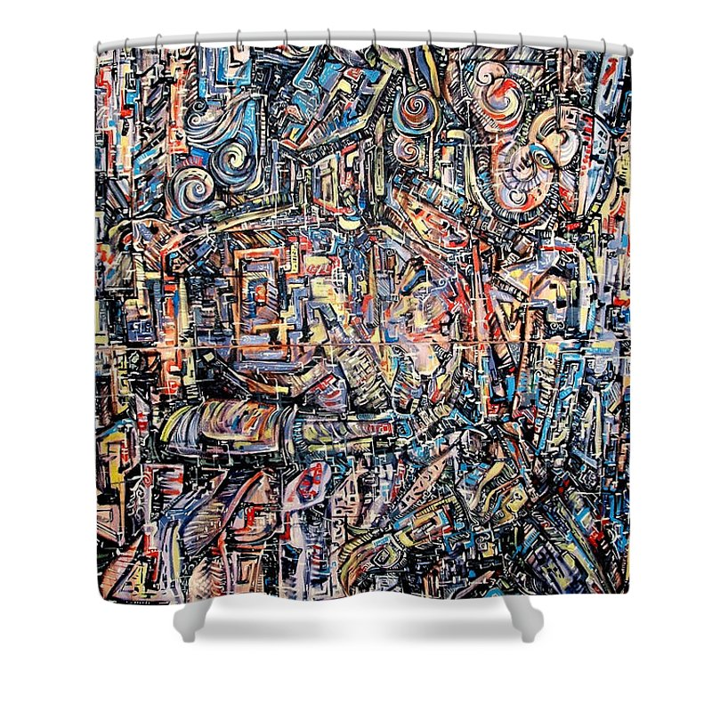 Surrealism Shower Curtain featuring the painting Labyrinth Of Sorrows by Darwin Leon