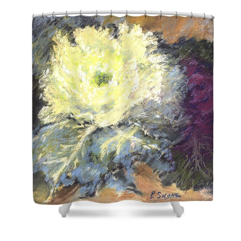 Still Life Cabbage Shower Curtain featuring the pastel Lace Curtin Cabbage by Pat Snook