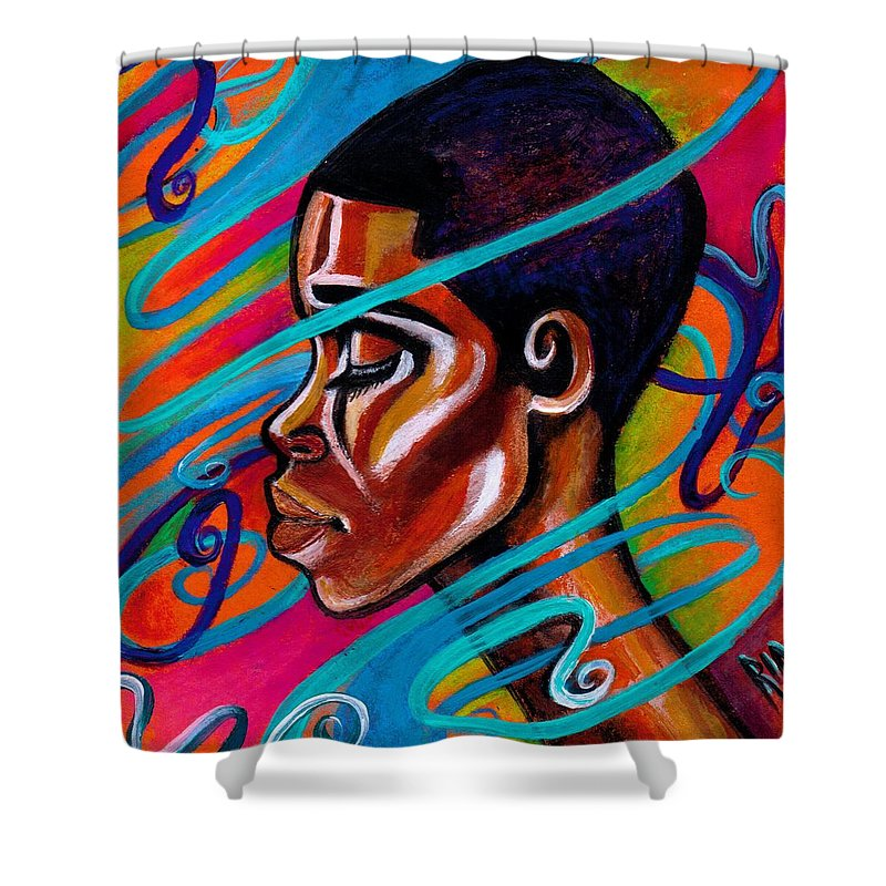 Hair Shower Curtain featuring the painting Laced by Artist RiA