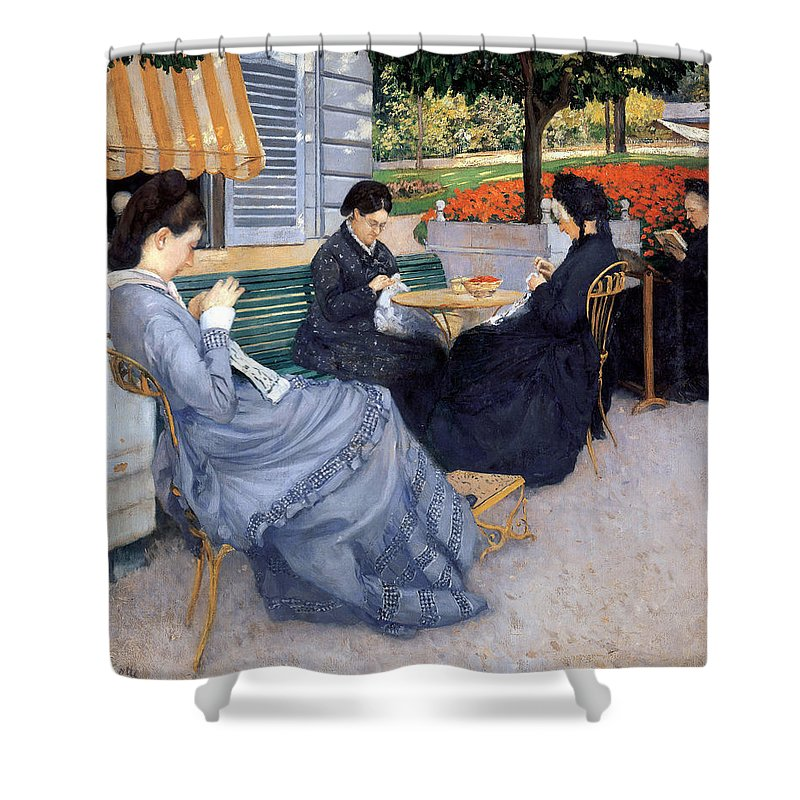 Gustave Caillebotte Shower Curtain featuring the painting Ladies Sewing by Gustave Caillebotte