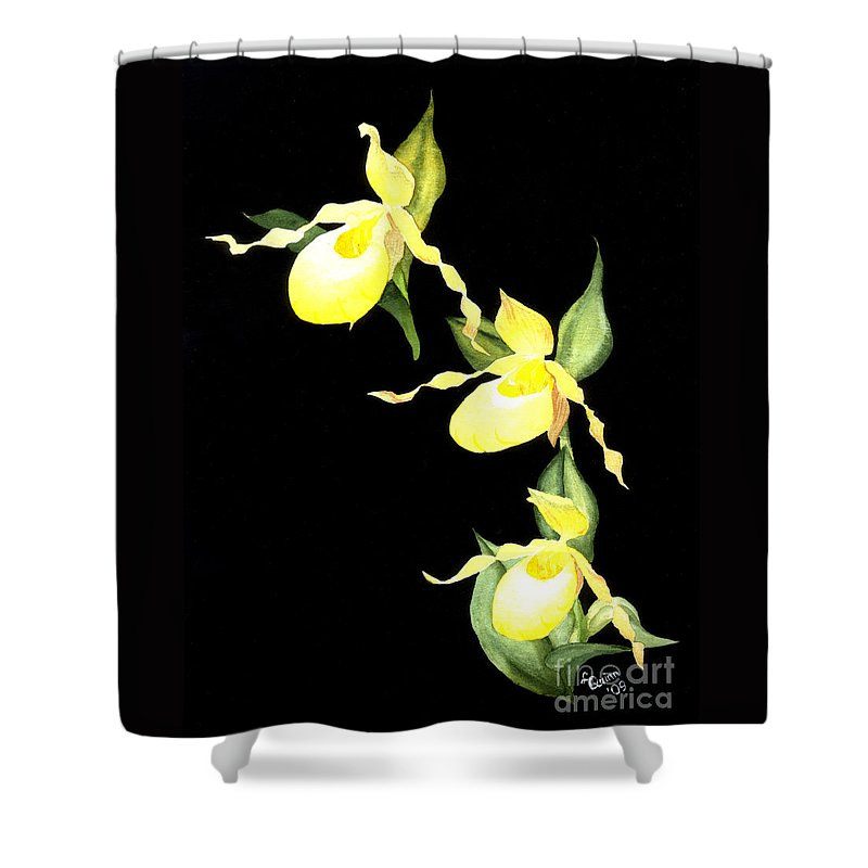 Yellow Lady S Slipper Shower Curtain featuring the painting Ladies Trio by Lynn Quinn