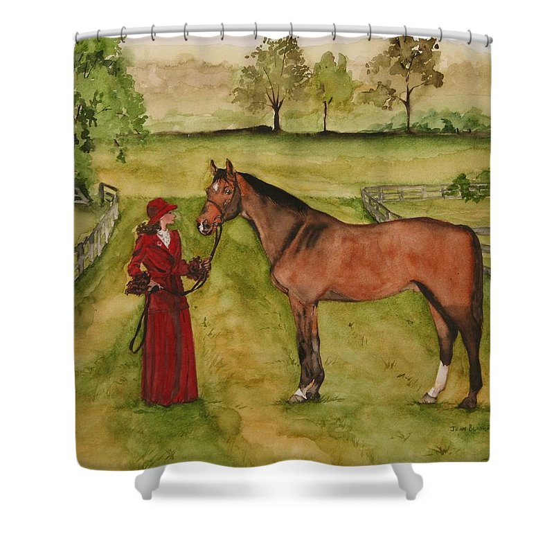 Horse Shower Curtain featuring the painting Lady And Horse by Jean Blackmer