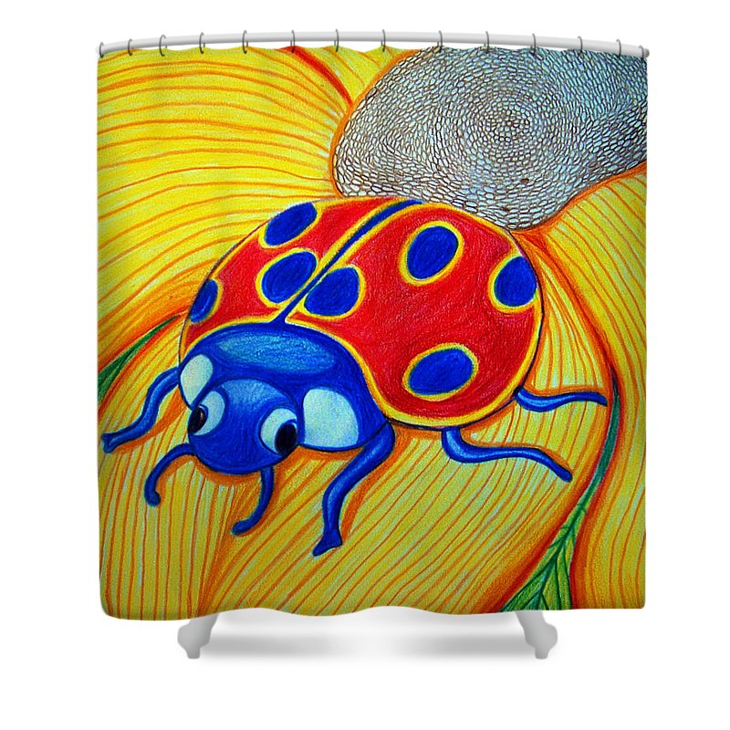 Lady Bug Shower Curtain featuring the drawing Lady Bug by Nick Gustafson