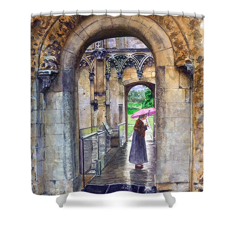 Glastonbury Shower Curtain featuring the painting Lady Chapel by John D Benson