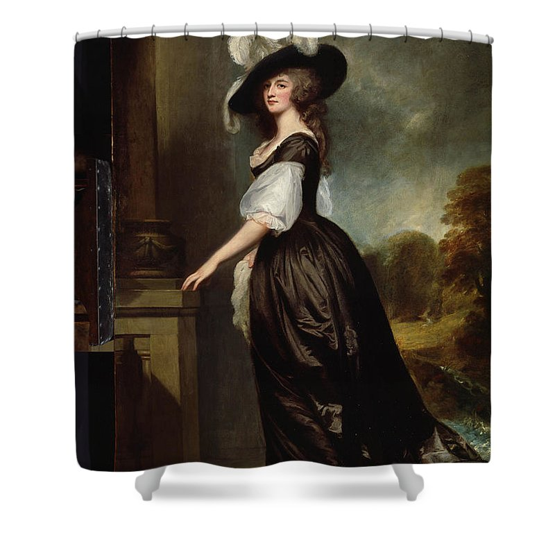 C.1790 Lady Shower Curtain featuring the painting Lady Charlotte Milnes by Celestial Images