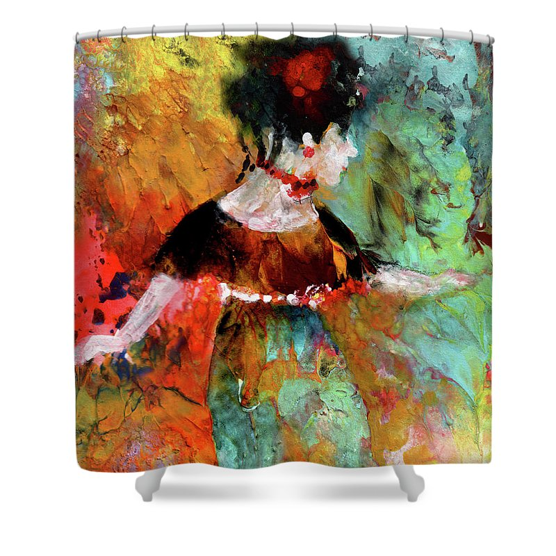 Downton Abbey Shower Curtain featuring the painting Lady Cora From Downton Abbey by Miki De Goodaboom