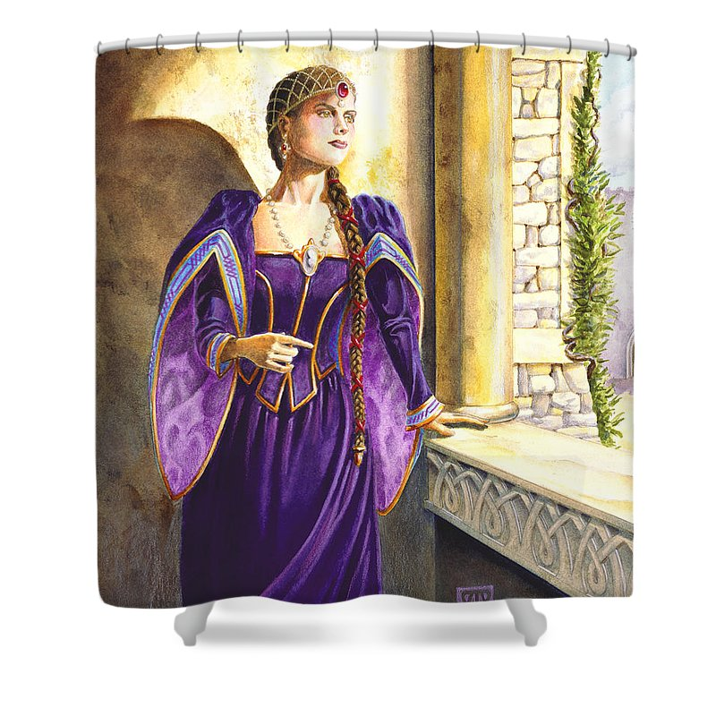 Camelot Shower Curtain featuring the painting Lady Ettard by Melissa A Benson