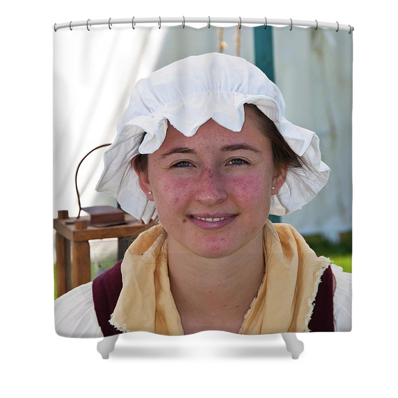 French & Indian War Re-enactor Shower Curtain featuring the photograph Lady IIi 6683 by Guy Whiteley