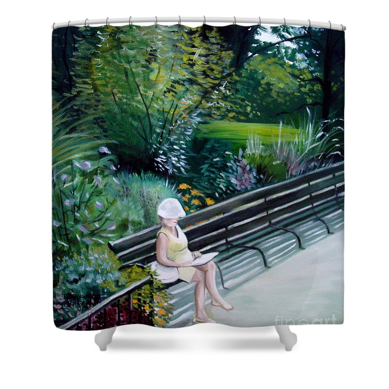 Landscape Shower Curtain featuring the painting Lady In Central Park by Elizabeth Robinette Tyndall