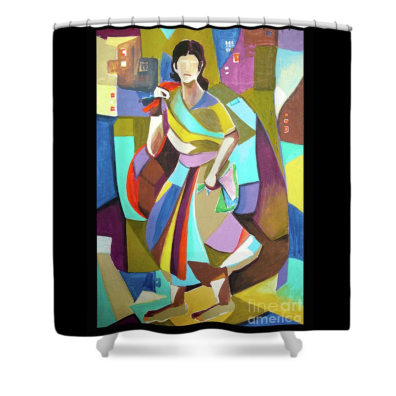 Mosaic Painting Shower Curtain featuring the painting Lady In Mosaic by Rehan Khan