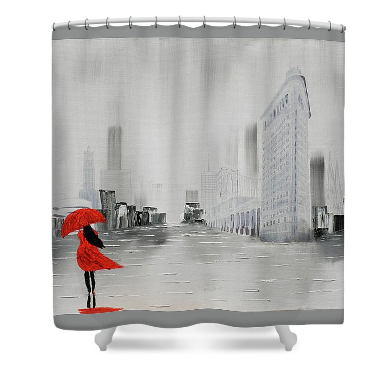 Lady In Red Dress And Red Umbrella Walking Alone Through A New Y ...