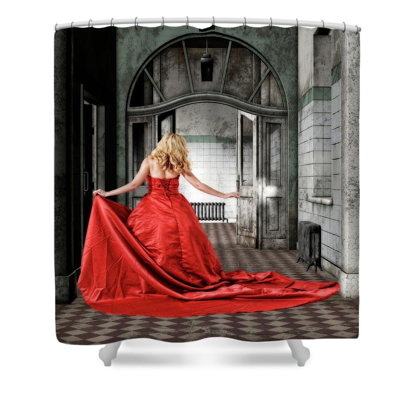 Lady In Red Shower Curtain featuring the mixed media Lady In Red by Smart Aviation