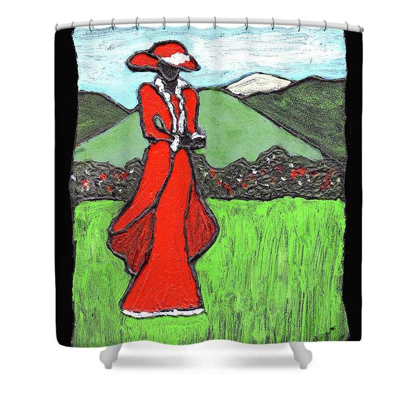 Red Shower Curtain featuring the painting Lady In Red by Wayne Potrafka