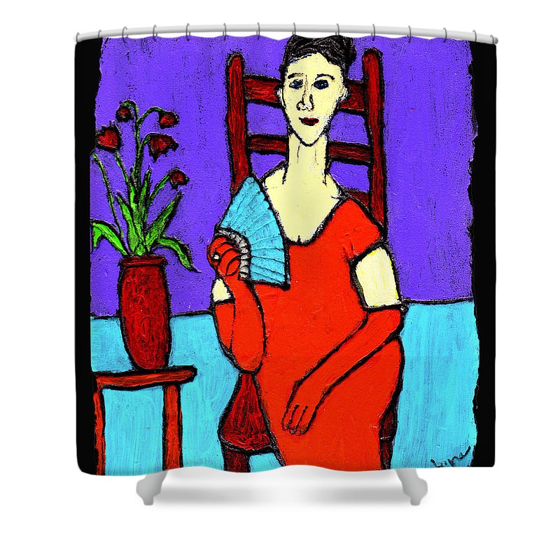 Lady Shower Curtain featuring the painting Lady In Red With Fan by Wayne Potrafka