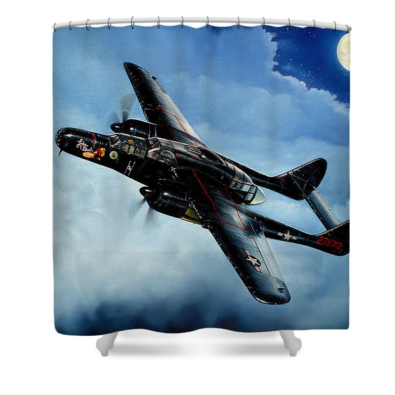 Military Shower Curtain featuring the painting Lady in the Dark by Marc Stewart