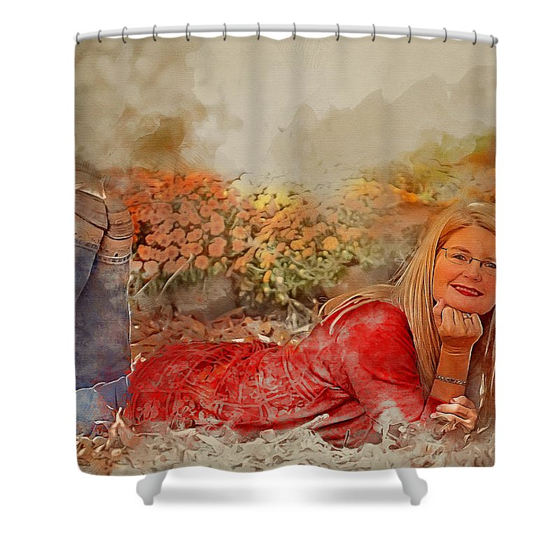 Lady Shower Curtain featuring the photograph Lady In The Leaves 1 by Ericamaxine Price