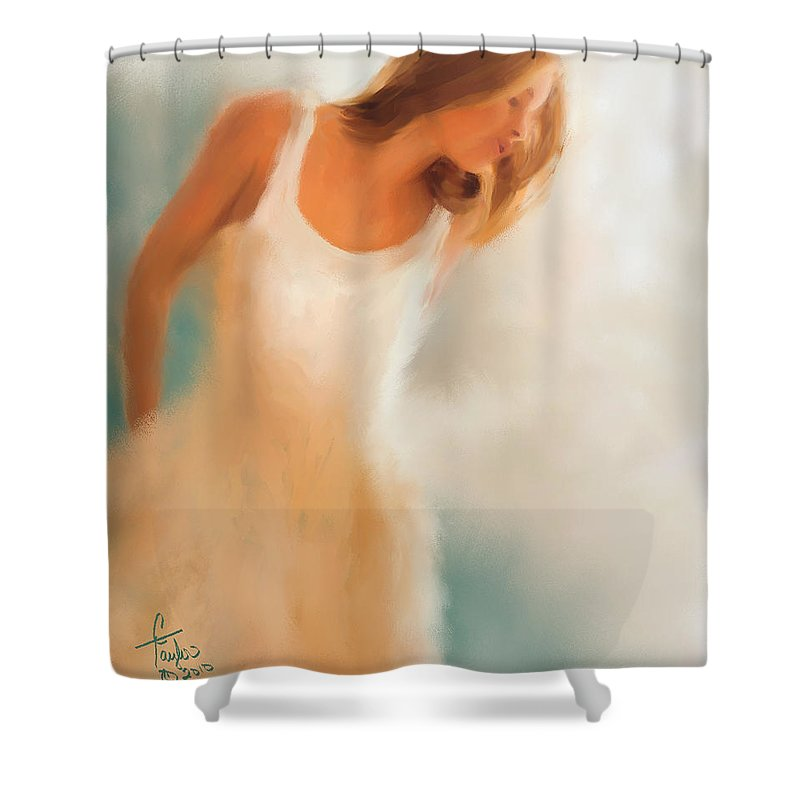 Woman Shower Curtain featuring the painting Lady In White by Colleen Taylor