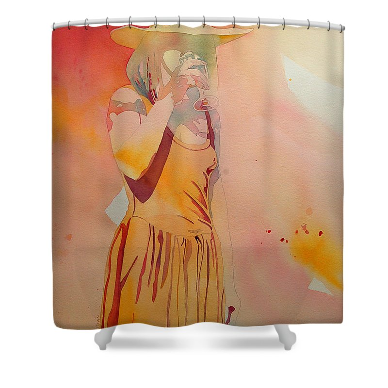 Woman Shower Curtain featuring the painting Lady In Yellow by Terry Holliday