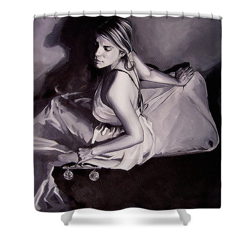 Law Art Shower Curtain featuring the painting Lady Justice Black And White by Laura Pierre-Louis