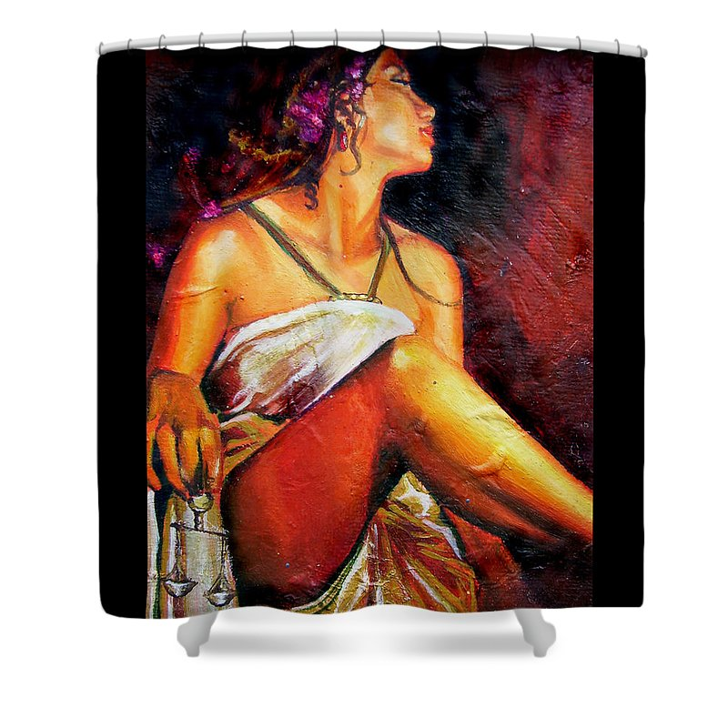 Law Art Shower Curtain featuring the painting Lady Justice Mini by Laura Pierre-Louis