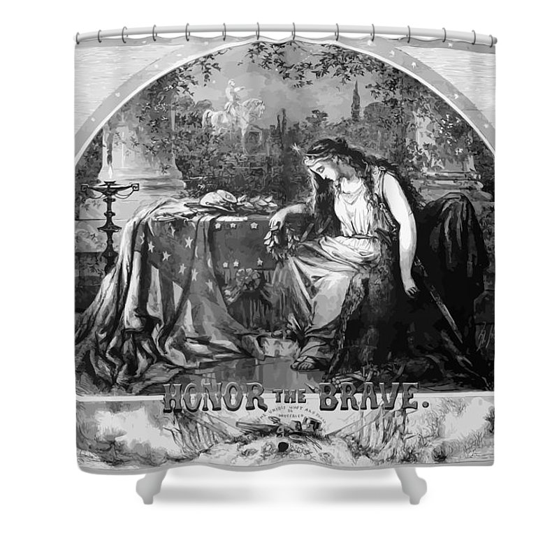 Civil War Shower Curtain featuring the painting Lady Liberty Mourns During The Civil War by War Is Hell Store