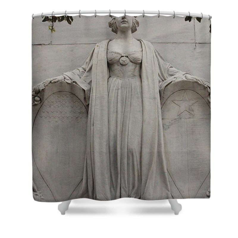 Alamo Shower Curtain featuring the photograph Lady Liberty on Alamo Monument by Carol Groenen