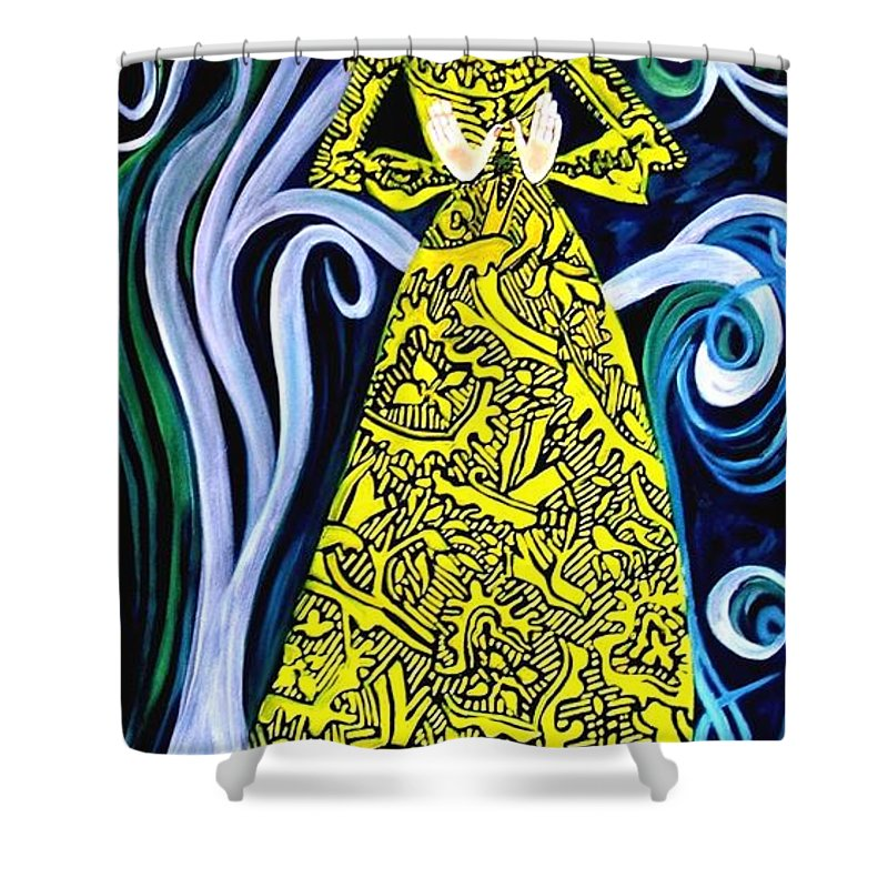 Figurative Shower Curtain featuring the painting Lady Lou by Caroline Street