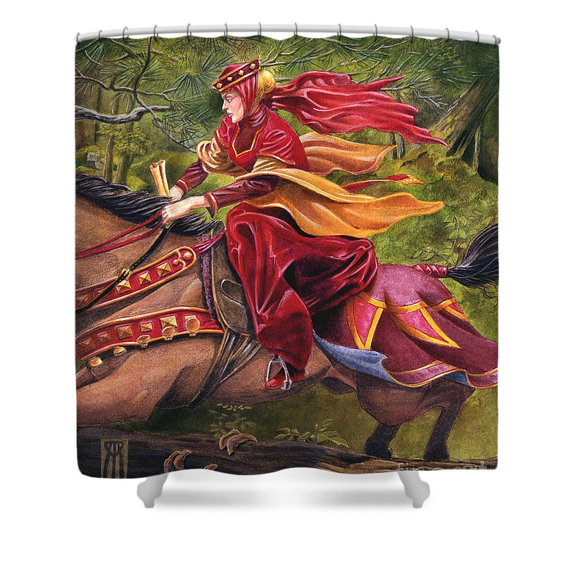 Camelot Shower Curtain featuring the painting Lady Lunete by Melissa A Benson